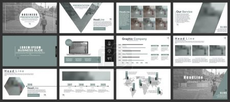 Illustration for Red and grey business presentation slides templates from infographic elements. Can be used for presentation, flyer and leaflet, brochure, marketing, advertising, annual report, banner, booklet - Royalty Free Image