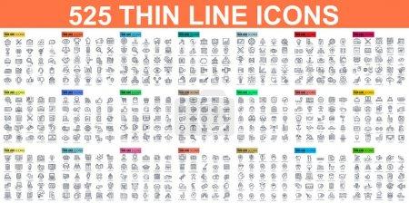 Illustration pour Ensemble simple d'icônes vectorielles de ligne mince. Contient des icônes telles que Business, Marketing, Shopping, Banque, E-commerce, SEO, Technologie, Médical, Éducation, Développement Web - image libre de droit