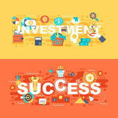 Investment and success set of flat concept Banners with slogan for website and graphic design Flat icons Mobile and print media Vector illustration