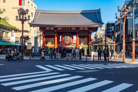 Photo for Tokyo. Japan. Asakusa Temple on a summer day. Excursions to Sensoji temple. Asakusa Street in Tokyo. Buddhist temples of Japan. Sights of Tokyo. Tourists near the entrance to Sensoji. 11.10.2019 - Royalty Free Image