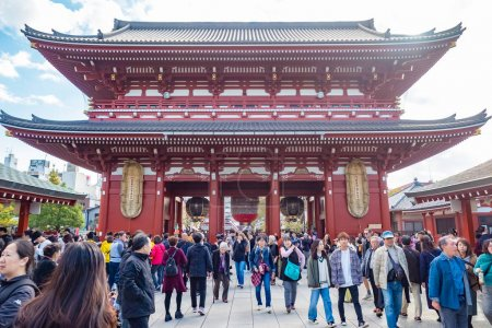 Photo for Tokyo. Japan. Asakusa Temple. Asakusa District in Tokyo. People in Buddhist temple. Guide to Tokyo Temples. Sensoji temple in sunny weather. Attractions in Japan. Asia. Vacation in Japan. 11.09.2019 - Royalty Free Image
