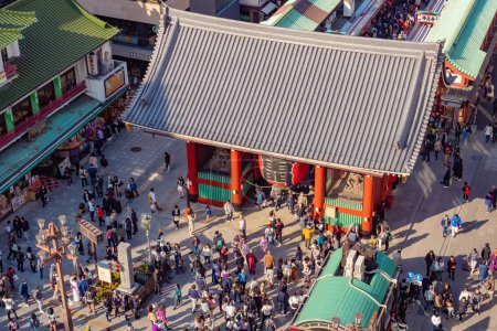 Photo for Tokyo. Japan. Asakusa Temple aerial view. National Japanese architecture. Asakusa street view from above. Tour in Tokyo. Sensoji temple. Traveling in Japan. Tourism in Southeast Asia.  11.09.2019 - Royalty Free Image