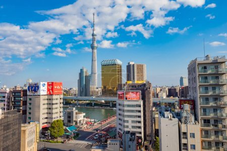 Photo for Tokyo. Japan. Tokyo Television Tower. Panorama of the Japanese city. Japan skyline. Japan cityscape. Tokyo Television Tower on a summer day. Japanese architecture. Building.  11.09.2019 - Royalty Free Image
