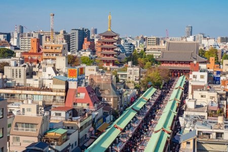 Photo for Tokyo. Japan. Asakusa street view from a quadrocopter. Sensoji. Excursions to Buddhist attractions. Buddhist temple of Asakusa. Streets of Tokyo with a drone. Single tour in Japan. 11.09.2019 - Royalty Free Image