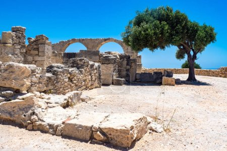 Photo for Cyprus. Limassol. Curion. Arches of the early Christian Basilica. Ruins of an ancient city in Cyprus. Archaeological Park on the Mediterranean coast. The remains of an ancient city and a green tree. - Royalty Free Image