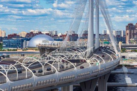 Saint Petersburg. Russia. Krestovsky island. Bridges Of St. Petersburg. Cable-stayed bridge over the Neva river. Obukhov bridge. Road traffic through the Neva river. High-speed road.