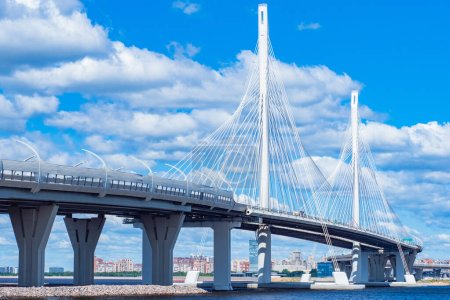 Saint Petersburg. Russia. Bridges Of Petersburg. Obukhov bridge against the blue sky and clouds. Panorama of cable-Stayed bridge in St. Petersburg. View of the city on a summer day. Travel to Russia.