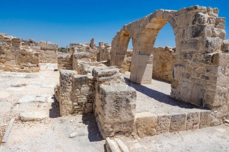 Photo for Cyprus. Paphos. Archaeological Park in the city of Paphos. Excavations of the ancient city. Ruins. Open air museum in the city of Paphos. Sights of Cyprus. Travels in the Mediterranean countries - Royalty Free Image
