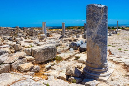Photo for Cyprus. Pathos. Archaeological Museum on the background of blue sky. Ruins on the shores of the Mediterranean Sea. Excursions to the archaeological park of Paphos. Travel to Cyprus. Sights of Paphos. - Royalty Free Image