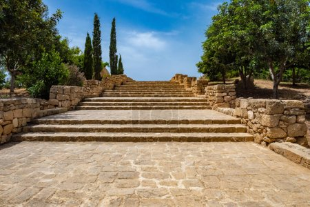 Photo for Cyprus. Pathos. Archaeological Open Air Museum. Steps in the archaeological park. Steps of the ancient city. Tour of the archaeological museum. Island Cyprus Attractions. Ruin. Excavations. - Royalty Free Image
