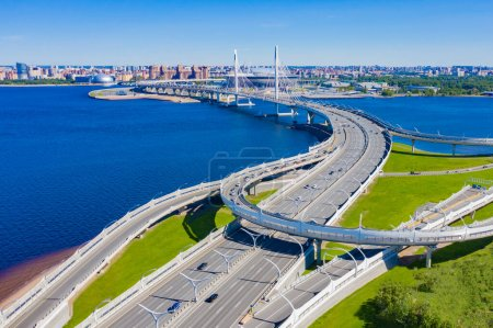 Saint Petersburg. Russia. View of the Expressway from a height. Bridges Of St. Petersburg. Automobile interchanges and bridge over the Neva river. Krestovsky island. The cable-stayed Obukhovsky bridge