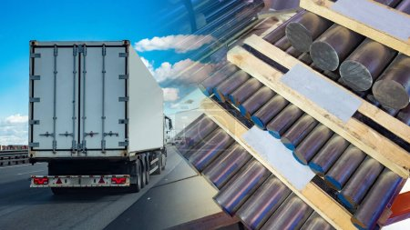 Photo for Automobile transportation of aluminum billets. Delivery of aluminum. Aluminum on pallets against the background of a truck. Transportation of non-ferrous metals. Freight traffic. - Royalty Free Image