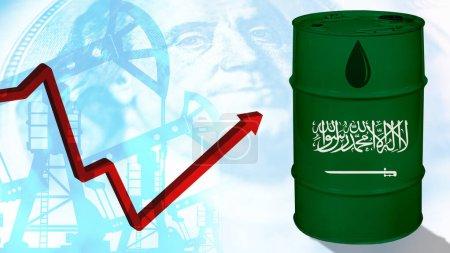 Photo pour Pétrole extrait en Arabie saoudite. Concept - L'Arabie saoudite dans la guerre pétrolière. Concept - Les Saoudiens augmentent la production d'huile. Flèche indique une forte hausse. Augmentation des facteurs négatifs. Croissance des prévisions négatives - image libre de droit