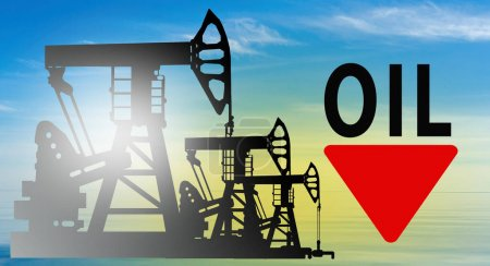 Photo pour Baisse brutale des prix du pétrole. Crise du marché mondial du pétrole. Effondrement du marché pétrolier. La baisse du coût du carburant . - image libre de droit
