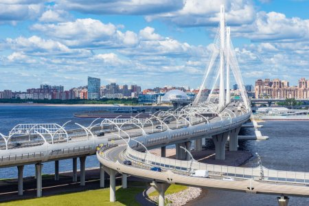 Saint Petersburg. Russia. Cable-stayed bridge over the Neva river. Bridges Of St. Petersburg. Rivers Of St. Petersburg. Big Obukhovsky bridge. Car traffic in the city. Transport infrastructure.