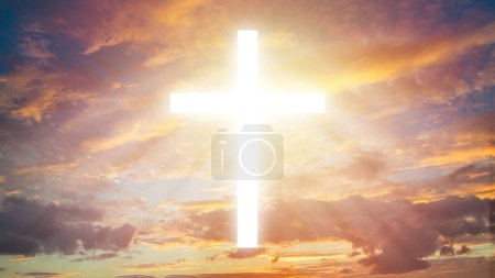 Photo for A luminous cross among the clouds. Religion. Religious signs and symbols. Christian cross in the sky. Faith. - Royalty Free Image