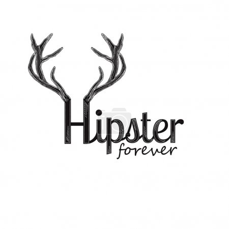 Hipster forever quote with deer horns.