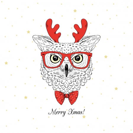 owl with xmas deer horns