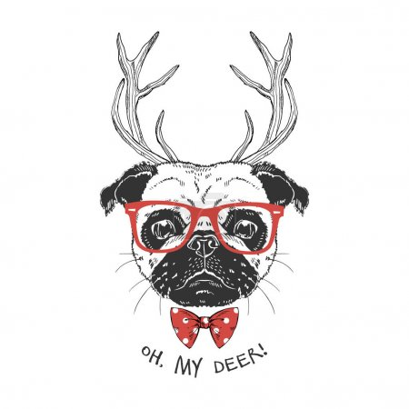 Illustration for Cute portrait of xmas pug with deer horns, hand drawn graphic, animal illustration - Royalty Free Image