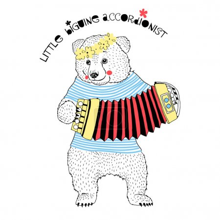 cute small bear playing accordion