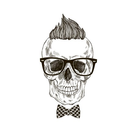 hand drawn scull hipster