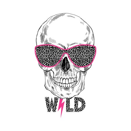 hand drawn scull in leopard glasses