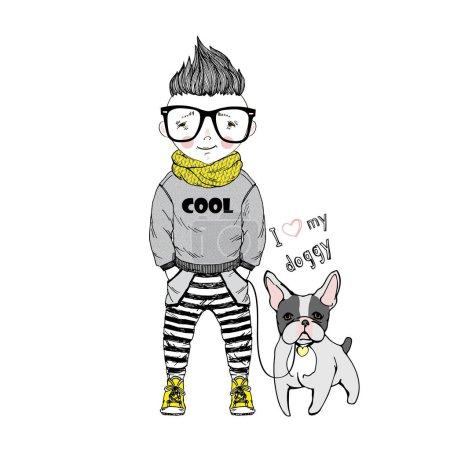 cartoon boy with dog