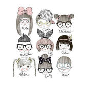 Vector illustration design of cartoon boys and girls portraits