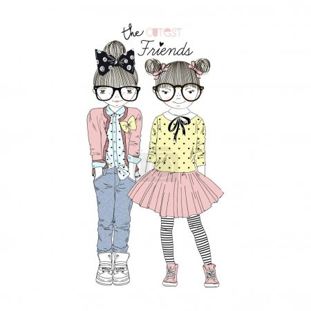 Cute cartoon girls friends