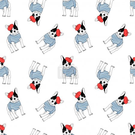 french bulldog seamless pattern
