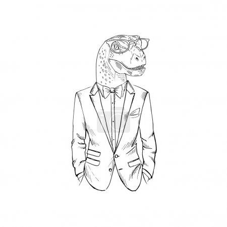 dino dressed up in tuxedo