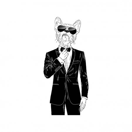 french bulldog dressed up in tuxedo
