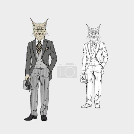 Illustration pour Illustration vectorielle design de lynx homme habillé en costume victorien vintage - image libre de droit