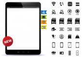 Tablet PC and Icons Set