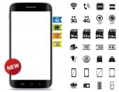 Mobile Phone and Icons Set