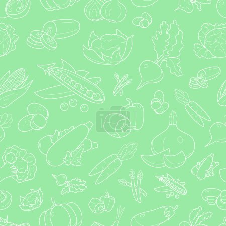 Illustration for Vegetables background - Vector seamless pattern of vegetarian food and healthy nutrition for graphic design - Royalty Free Image