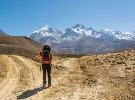 Photo for Lonely trekker on a crossroad of two roads towards mountains. Annapurna circuit trek in Nepal. - Royalty Free Image