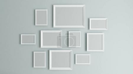 Photo pour Photo ou photo art sur mur vintage avec cadre bordure blanche rendu 3D - image libre de droit