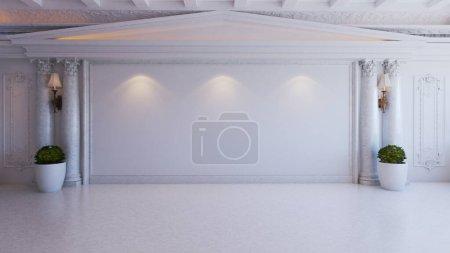Photo pour Idée de design d'intérieur baroque blanc et classique avec colonne de plantes et de marbre, rendu 3D réaliste au sol - image libre de droit