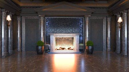 Photo pour Idée de design d'intérieur baroque foncé et classique avec cheminée et plante, sol en marbre noir et colonne rendu 3D réaliste - image libre de droit