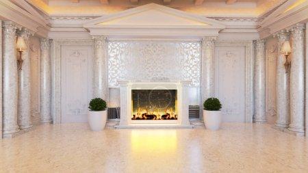 Photo pour Idée de design d'intérieur baroque blanc et classique avec cheminée et plante, sol en marbre blanc et colonne rendu 3D réaliste - image libre de droit