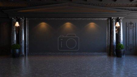 Photo pour Idée de design d'intérieur baroque noir et classique avec colonne de plantes et de marbre, rendu 3D réaliste au sol - image libre de droit
