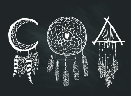 Set of Dreamcatchers. Design elements in Boho style.