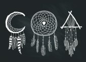 Set of Dreamcatchers Design elements in Boho style