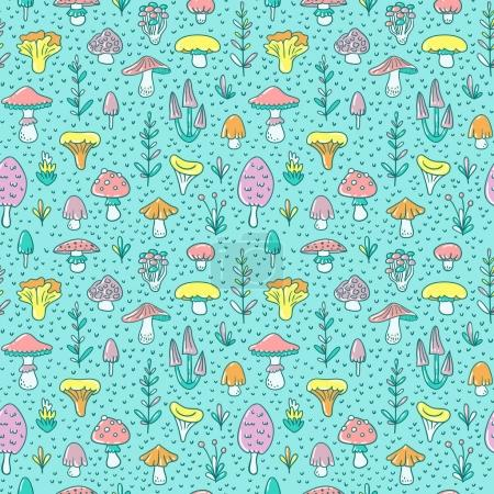 Seamless pattern with cartoon mushrooms and toadstools