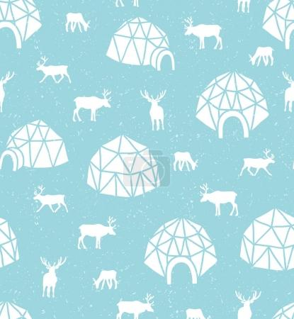 pattern with reindeer and igloo