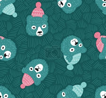 seamless pattern with bears heads