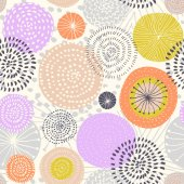 Vector seamless pattern with ink circle textures Abstract seamless background with colorful fireworks