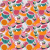"""Постер, картина, фотообои """"Яркий дизайн с тропическими фруктами"""""""