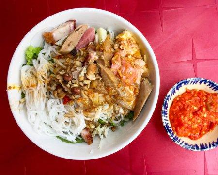 Photo for Vietnamese traditional noodle with fish sauce (Bun Mam Nem) in Da Nang, Vietnam. - Royalty Free Image